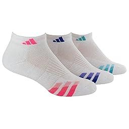 adidas Women\'s Cushioned 3pk Low Cut Sock White/solar Pink/Night Flash Purple/Vivid Mint Green
