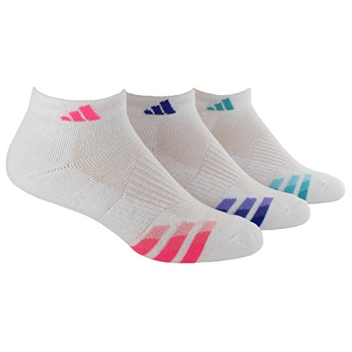 adidas Women's Cushioned 3pk Low Cut Sock White/solar Pink/Night Flash Purple/Vivid Mint Green - 3 Plus Womens Running Shoes