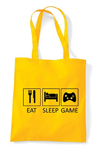 Gaming Tote Yellow Game Eat Bag Statement Sleep Tiles Shopper BqnzwSt