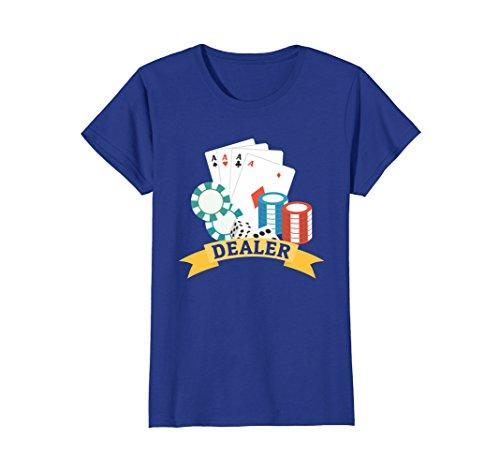 Womens Casino Dealer T-shirt - Chips Cards Poker Large Royal Blue
