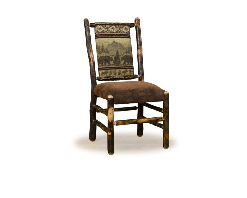 Hickory Dining Room Furniture - Two- Rustic Hickory Dining ChairsLow Back- Golden Fabric - Amish Made