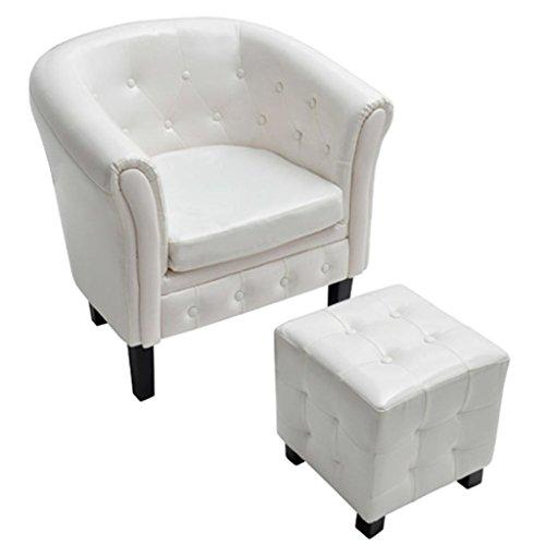 vidaXL Armchair White Tufted Tub Barrel Design Club Chair Ottoman Foot Stool