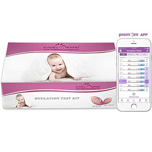 Easy@Home 100 Ovulation Test and 20 Pregnancy Test Strips, FSA Eligible Ovulation Test Kit Powered by Premom Ovulation Predictor Free iOS&Android APP,100LH +20HCG