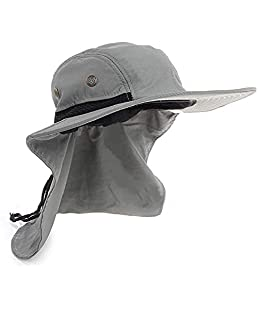 UV Protection Outdoor Sun Hats, Wide Brim Neck Flap Ear Full Cover, Ideal for Fishing/Hiking/Hunting (Gray)