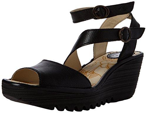 Fly Women's Strap Yisk837fly Black London Black Ankle Sandals rUH4gr