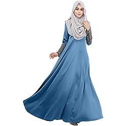 Timall Islamic Muslim Women Maxi Sleeve Dress Kaftan Abaya Jilbab Casual Dress