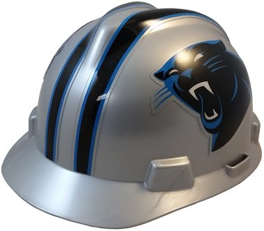 MSA NFL Team Safety Helmets with One-Touch Adjustable Suspension and Hard Hat Tote - Carolina Panthers