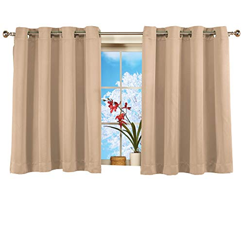 (Collections Etc Short Blackout Window Curtain Panel, Energy-Efficient, Noise-Reducing and Light-Blocking Triple-Layer Technology, Grommet Top, Taupe, 56