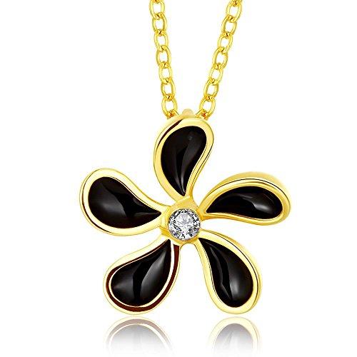 [Oil Drip Flower Rhinestone Pendant Necklace] (Zora Link Costume)