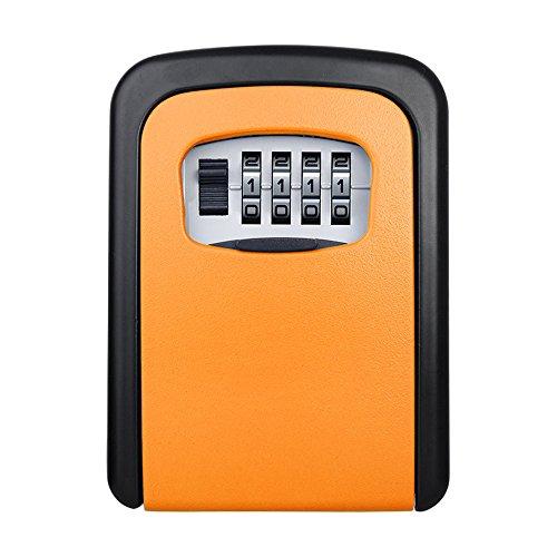 Price comparison product image ELEOPTION Safe Key Lock Box Wall Mount With Code 4 Digit Combination Lock For Outside Door House Home Car Office Key Locker (Orange)