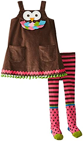 Mud Pie Little Girls' Owl Jumper with Tights, Brown, 4T - Corduroy Jumper Dress Set