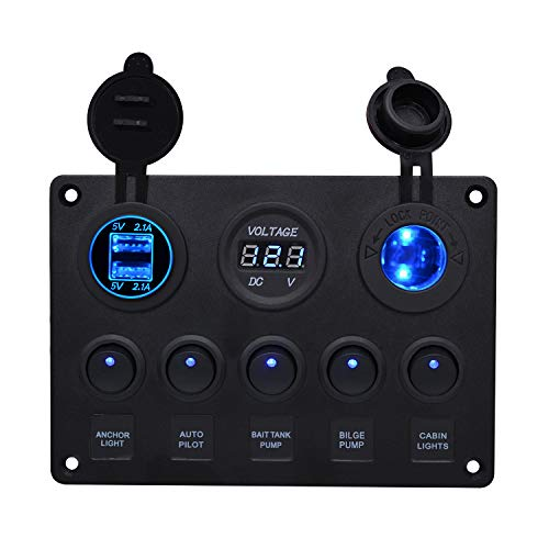 WUPP Marine Boat Rocker Switch Panel 5 Gang ON OFF Switches with Digital Voltage Display 3.1A Double USB Power Charger Adapter 12V Cigarette Lighter Socket for Car Truck Jeep