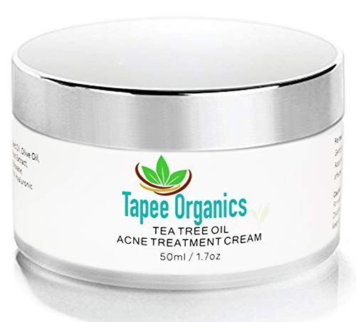 1.7oz Tapee Organics Tea Tree Oil Acne Treatment Cream with Collagen for Acne, Bacne, Pimples, Facial/Neck Spots, Blemishes, Scars, Stretch Marks, Zits, Blackheads and Cystic Bumps