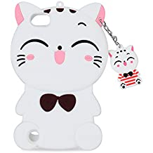 iPod Touch 6 Case, iPod Touch 5 Case , Mulafnxal Cute 3D Cartoon Cat Silicone Rubber Phone Case Cover for Apple iPod Touch 6th / 5th Generation (White Lucky Cat)