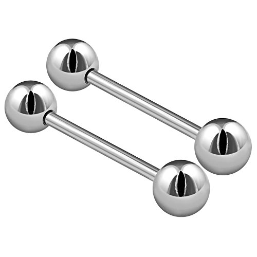 2PCS Stainless Steel Stud Barbell Tongue Rings 14 Gauge 11/16 18mm 6mm Ball Nipple Bars Piercing Jewelry 2505