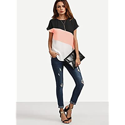Romwe Women's Color Block Blouse Short Sleeve Casual Tee Shirts Tunic Tops at Women's Clothing store