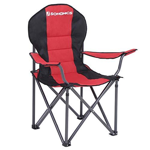 SONGMICS Campingstoel, inklapbaar, klapstoel, comfortabele met schuim beklede zitting, met flessenhouder, hoog…