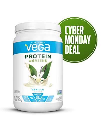 Vega Protein & Greens Vanilla (21 Servings, 21.7 Ounce) - Plant Based Protein Powder, Keto-Friendly, Gluten Free, Non Dairy, Vegan, Non Soy, Non GMO - (Packaging may vary)