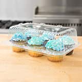 40 Cupcake Containers Plastic Disposable | High Dome Cupcake Boxes 6 Compartment Cupcake Holders Disposable Cupcake…