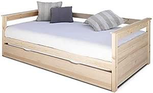 Gnrique Cama de madera 80x190 3Ft solo día para 80 x 190 cm Madera