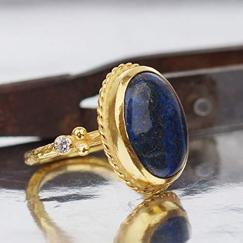 925 Silver Lapis & White Topaz Ancient Handmade Ring By Omer 24 k Gold Vermeil