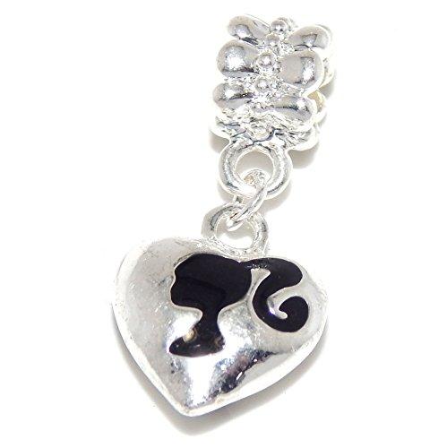 (GemStorm Silver Plated Dangling Heart w/ Black Girl Silhouette For European Snake Chain Bracelets)