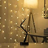 LCAZ – Árvore decorativa com galhos de fio de cobre com luzes LED, luzes de mesa para uso interno com interruptor de toque, á