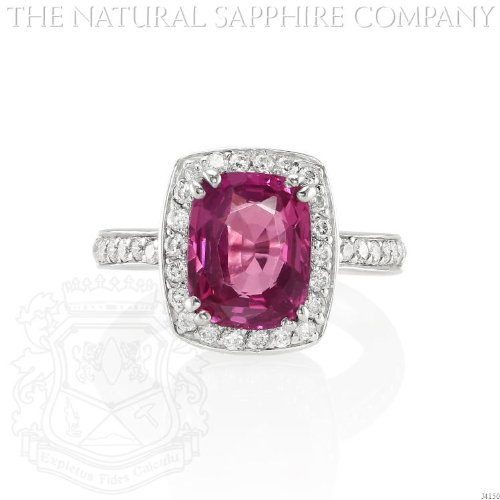 18K WHITE GOLD, PINK SAPPHIRE AND DIAMOND RING, SAPPHIRE @ 4.01 CARATS (J4150) ()