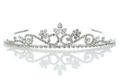 Princess Rhinestones Crystal Flower Bridal Wedding Prom Tiara Crown (Clear Crystals Silver Plated)