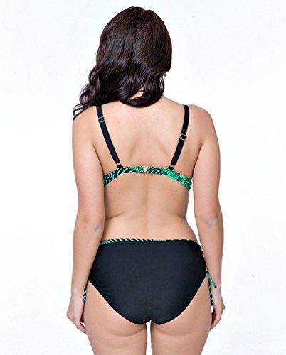 YOUJIA Mujer Traje de Baño Dos Piezas Push-Up Bikinis Alta Cintura Florales Impresa Playa Natación Swimsuit Bañadores Verde