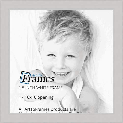 ArtToFrames 16x16 Inch White Picture Frame, This 1.5