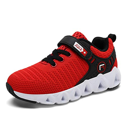 Image of FLORENCE IISA Kids Athletic Running Shoes Lightweight Sports Tennis Sneakers for Boys & Girls (30, Red)
