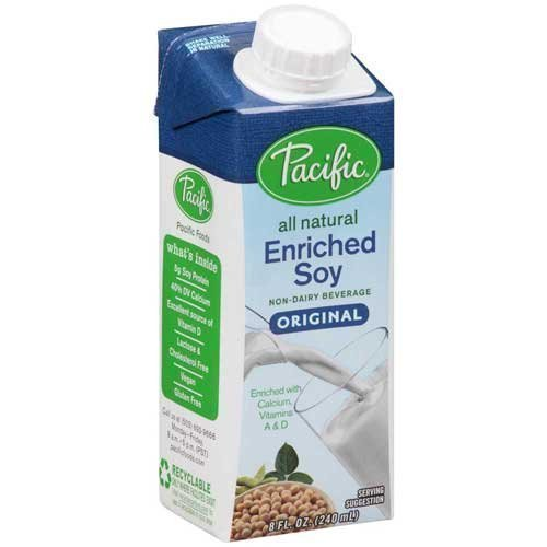 Pacific Foods Enriched Soy Milk, Plain, 8-Ounce Aseptic Packages, (Pack of 72) by Pacific Natural Foods
