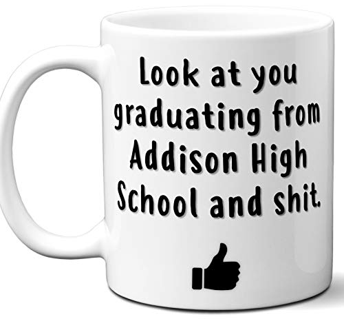 Addison High School Graduation Gift. Cocoa, Coffee Mug Cup. Student High School Grad Idea Teen Graduates Boys Girls Him Her Class. Funny Congratulations. 11 oz. ()