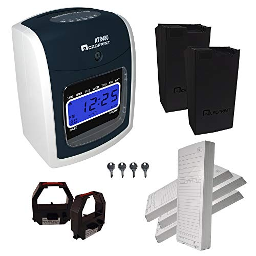 Acroprint ATR480 Automatic Totalizing Time Clock Bundle, 200 Cards, 2 Ribbons, 2 Racks, 4 Keys