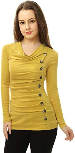 Allegra K Women's Cowl Neck Long Sleeves Buttons Decor Ruched Top