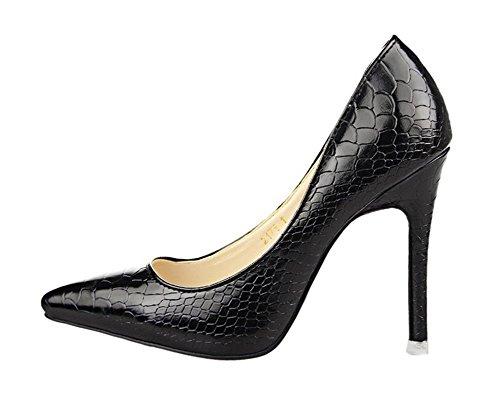 Scarpe Donna Easemax Sexy Con Stampa Serpente Stiletto Scarpe A Punta Tacco Basso Su Tacco Alto Scarpe Nere