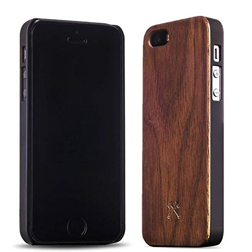 Woodcessories - Case Compatible with iPhone 5/ 5s / SE of Real Wood, EcoCase Classic (Walnut/Black) (Grain 5 Iphone Wood)