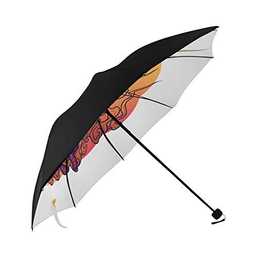 Umbrellas Parasol Evil Creative Monsters Lyrical Fire Underside Printing Portable Travel Umbrella Sun Umbrellas With Uv Lightweight Compact Umbrella With 95% Uv Protection For Women Men Lady Girl]()