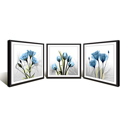 Moyedecor Art 3 Panels Wall Art Flowers Paintings The Picture prints on canvas - Black frame in 4 edges For Home Decor Ready To Hang (Three 16x16in black framed, Blue Flowers prints)