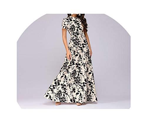 Utensil-Shop Dresses Casual Dress Elegant Women Floral Printed O-Neck 3/4 Sleeve Long Dress,Beige Short Sleeve,XXL