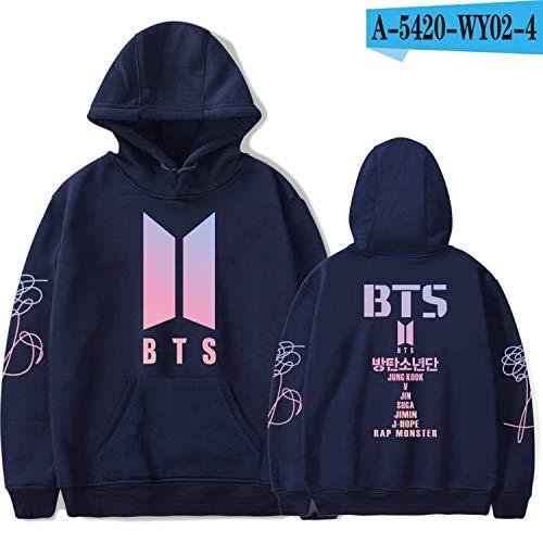 BTS Album Women Hoodies Sweatshirts K-pop Fans Sweatshirt Streetwear DNA K POP Autumn Winter Clothes Oversized 4XL,Navy -