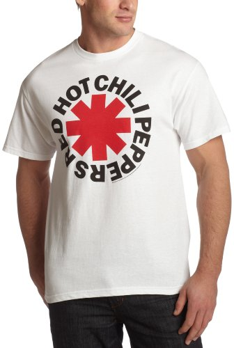 - Bravado Men's Red Hot Chili Peppers Asterik Logo T-Shirt, White, Large