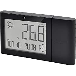 OREAV BAR268HGAB Oregon Scientific Weather Forecaster with Indoor/Outdoor Temp and Humidity Moon Phase Atomic Clock, Black