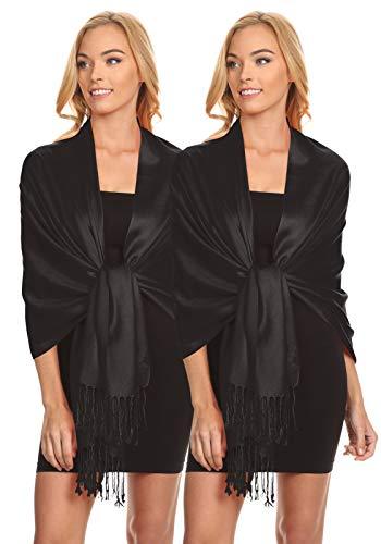 Simlu Womens Scarfs Silky Pashmina Shawl Wrap Scarves for Women Stole Shawls (Size One Size, 2 PK Black - Black)