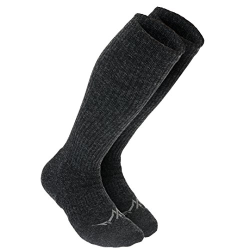 Support Stockings Premium Knee-High Merino Wool Compression Socks For Men and Women,Charcoal,Large: Shoe Sizes 8-12