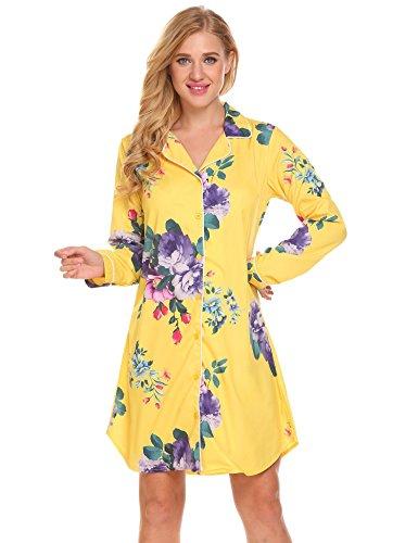 ELESOL Women Long Sleeve Pajama Top Button Down Sleep Shirt Floral Dress