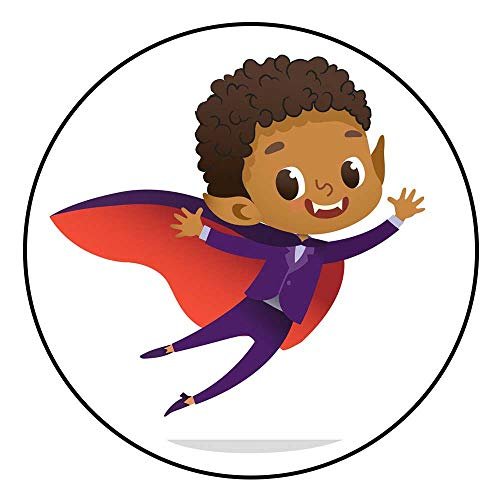 (Hua Wu Chou Round Splat matfire Pit mat Round D4'2/1.3m Kids Costume Party African American Dracula Vampire Boy in Halloween Devil Costume Laughing and Flying Cartoon Vector)