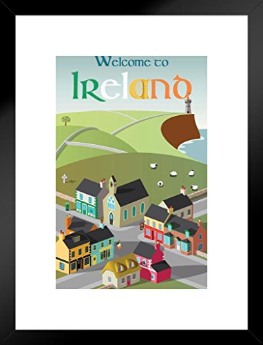 Poster Foundry Welcome to Ireland Retro Travel Art Matted Framed Wall Art Print 20x26 inch ()