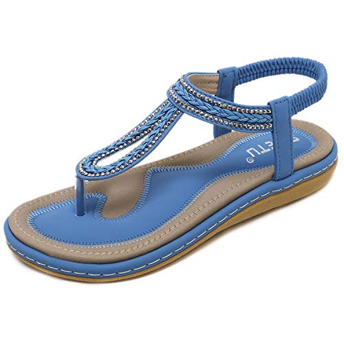 DolphinBanana Women's Bohemian Simple T-Strap Summer Flat Thong Sandals, Sapphire Blue Flip Flops Glitter Shiny Rhinestone Herringbone Woven Tape Shoes for Dressy Casual Jeans Daily Wear and Beach Vacation